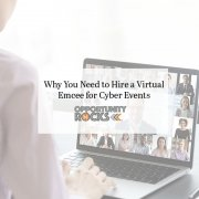 Person watching a virtual meeting led by an emcee